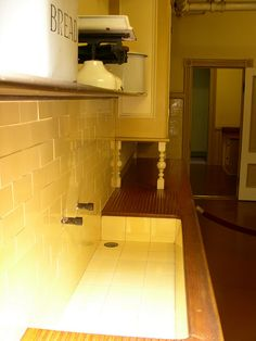 Pine drainboard & tile sink from Winchester Mystery House
