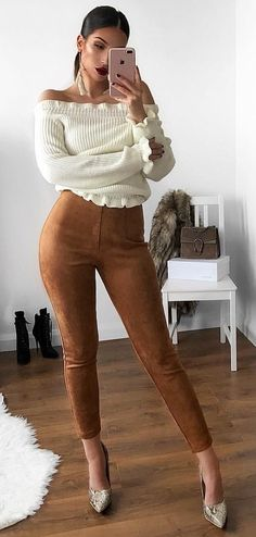 16485d6a652  fall  outfits women s white off-shoulder long-sleeve shirt with brown  fitted