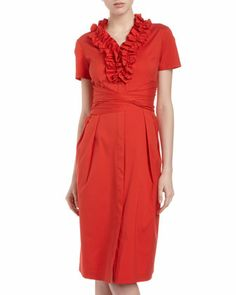 Ruffle-Collar Tie-Waist Shirtdress, Salsa by Studio 148 by Lafayette 148 New York at Last Call by Neiman Marcus.
