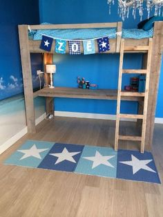 Hoogslaper Steigerhout Boy Room, Kids Room, Playhouse Bed, High Beds, Nursery Room Decor, Teen Bedroom, Bed Design, Bunk Beds, Room Inspiration