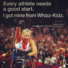 Via @robmdyson. Top half of poster featuring double gold medallist Hannah Cockroft fronting a Whizz-Kidz campaign.