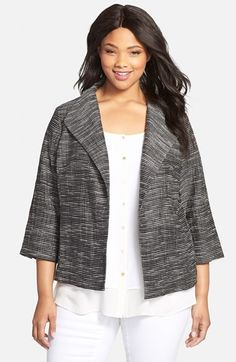 Plus Size Women's Eileen Fisher Striated Wing Collar Jacket