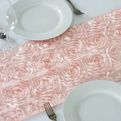 "Wholesale Blush Rosette Flower 3D Satin Table Runner For Wedding Party Event Table Decoration  - 14"" x 108"""