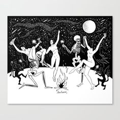 Danse Macabre / Halloween Witches Dance with Demons / Celestial Witch Occult Wicca Pagan Dark Erotic Illustration / Art Print for Sale - Danse Macabre / Halloween Witches Dance with Demons / Celestial Witch Occult Wicca Pagan Dark Eroti - Macabre Art, Danse Macabre, Witches Dance, Witch Drawing, Witch Tattoo, Dark Witch, Occult Art, Fanart, Witch Art