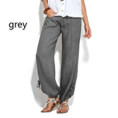 f1fc48b92d2 Women Plus Size Fashion Casual Loose Buttons Trousers Solid Color Pants