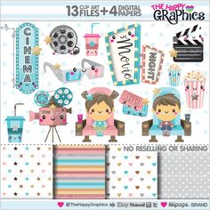 Movie Clipart, Movie Graphics, COMMERCIAL USE, Kawaii Clipart, Cinema Clipart, Planner Accessories, Movie Party, Film, Theater, Popcorn