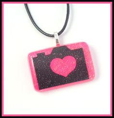 Love Camera's Hot Pink Black Charmer Necklace Jewelry by PBNJewels, $5.00