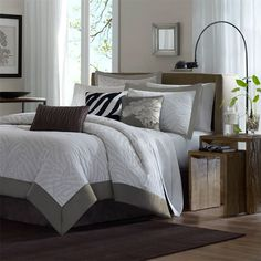 Madison Park Sasha 7 Piece Comforter Set - Grey - Queen