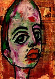 "Saatchi Art Artist CARMEN LUNA; Painting, ""75-RETRATOS Expresionistas. Otoño."" #art"