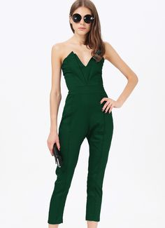 Green V Neck Backless Jumpsuit 22.14