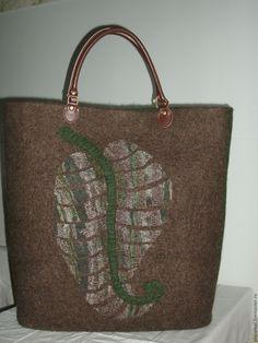 """Купить сумка большая валяная """"Катерина"""" - коричневый, абстрактный, сумка ручной работы, сумка женская"""