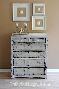Two Toned Dresser painted with Miss Mustard Seed Milk Paint in Linen and Grain Sack - Thrifty Cottage Couture