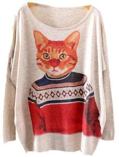 Jersey suelto gato manga larga gris - Sheinside