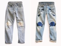 Hillary Justin knows a thing or two about vintage denim. Having co-founded the LA based vintage studio Just Say Native, she recently launched her own collection of embroidered vintage denim under the label Bliss and Mischief. Inspired by nature (like the infamous large cactus in her backyard), the