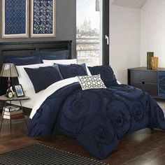 Shop Gracewood Hollow Maqqari Dark Blue 11-piece Bed in a Bag Comforter Set - On Sale - Overstock - 19972935 - Queen Navy Blue Bedding, Navy Comforter, Blue Bedding Sets, Queen Comforter Sets, Blue Master Bedroom, Bedroom Sets, Master Bedrooms, Bedroom Colors, Blue Bed Sheets