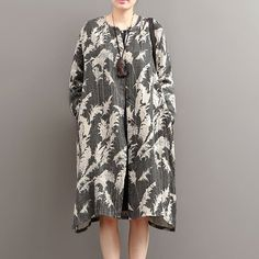 Autumn Ethnic Retro Print Long Sleeve Cardigan Cotton Linen Jacket