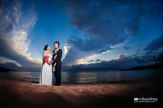 This lovely couple had their wedding ceremony at Merriman's Kapalua, then headed over next door to Kapalua Bay to capture this intimate sunset image! Captured by Mike Sidney Photography. / www.mikesidney.com