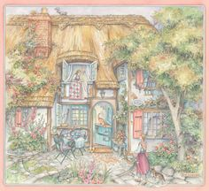 kim jacobs artist | Cottage Welcome- Watercolor - Image area without wide border- approx ...