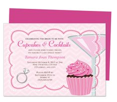 Printable DIY Bachelorette Party Invitations Templates : Cake Bachelorette Party Invitation Template. Sensational and delectable bachelorette party invitation template design adorned with soothing drink for the nervous bride, yummy cupcake, and large diamond ring!