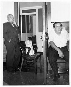 Genovese mobster Joseph Lanza (L) and (acting) Bonanno consigliere Michael Adamo, 1963. Lanza ran the Fulton fish market for the Genovese til his death in 1968. That same year Adamo was killed after a failed power attempt.