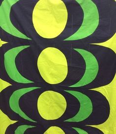 "VTG MARIMEKKO ""KAIVO"" 1965 ISOLA Finland 4.5 Repeats Greens And Black"