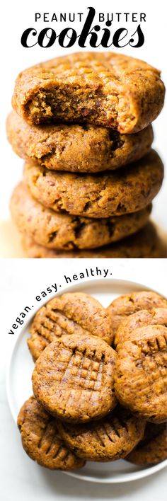 Vegan Grain-Free Peanut Butter Cookies These healthy vegan peanut butter cookies are completely flourless, fruit-sweetened, and egg-free–made with just 5 simple ingredients in under 30 minutes! Healthy Vegan Dessert, Healthy Fruit Desserts, Vegan Dessert Recipes, Vegan Treats, Vegan Snacks, Fruit Recipes, Cookie Recipes, Sweet Recipes, Vegan Recipes