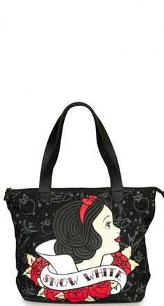 Tote your daily essentials with your fave Disney Princess! The Snow White Tattoo Flash Tote Bag! #blamebetty #snowwhite #disney