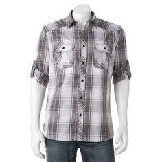 Big & Tall Rock & Republic Classic-Fit Plaid Stretch Roll-Tab Button-Down Shirt, Men's, Size: Xl Tall, Med Grey