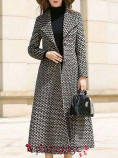 Lapel Long Sleeve Casual Coat - Business Outfits for Work Abaya Mode, Mode Hijab, Iranian Women Fashion, African Fashion, Unique Dresses, Beautiful Dresses, Abaya Fashion, Fashion Dresses, Hijab Stile