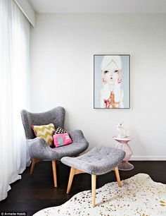Serene: The vision for a feeding chair with leg rest and $2,000 artwork of a doe-eyed girl...