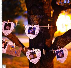 To replace a traditional guestbook, have guests take Polaroid pictures of themselves and write messages or advice on heart-shaped doilies. Then each guest can hang their photos and notes on clothesline strung up.