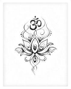 Om Symbol And Lotus Tattoo Design - lotus with om tattoo designs Ohm Tattoo, Symbol Tattoos, Hindu Tattoos, Ganesha Tattoo, Tattoo Symbols, Yoga Tattoos, Body Art Tattoos, New Tattoos, Tatoos