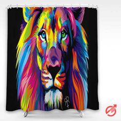 Cheap Lion painting color art Shower Curtain