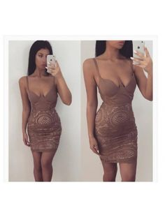 Mollie   Mocha Strappy Crochet Lace Bodycon Dress