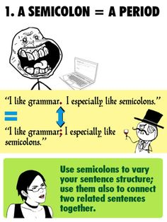 semicolon = period - but only if the sentences you're connecting are related. Teaching Cursive Writing, Run On Sentences, Writer Humor, Grammar And Punctuation, Sentence Structure, Beginning Of School, Kids Learning, Period