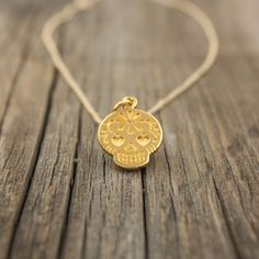 Gold Sugar Skull Necklace - Day of the Dead Jewelry . Dia De Los Muertos . Matte 24K Gold-Dipped Mexican Sugar Skull Pendant . Gift Ideas