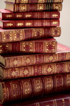Leather bound books with gilt details