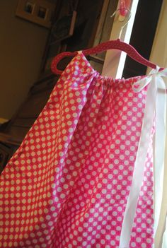 Dresses for girls - Pillowcase Boutique style - pink polka dot aline with satin ribbon accent handmade one of a kind toddler 12 months 4t by rufflesandbowties on Etsy
