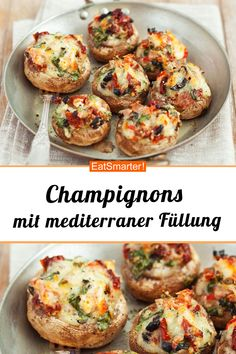 Mushrooms with a Mediterranean filling- Champignons mit mediterraner Füllung Mushrooms with a Mediterranean filling – smarter – time: 40 min. Lunch Recipes, Crockpot Recipes, Vegetarian Recipes, Chicken Recipes, Dinner Recipes, Healthy Recipes, Healthy Cooking, Meat Recipes, Cooking Tips