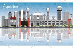 #Asuncion #Skyline with Gray #Buildings by Igor Sorokin on @creativemarket