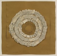 "Lenore Tawney, ""Fruitful Place,"" 1966, ink and collaged manuscript, 11 1/2 x 9 1/4 inches (29.2 x 23.5 cm). © Lenore Tawney"