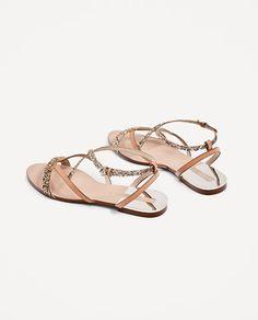 6cd19a82e0d1 FLAT SANDALS WITH SHINY STRAPS - Flat sandals-SHOES-WOMAN
