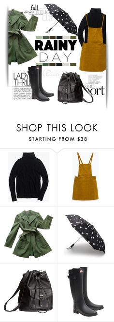 """""""Rainy Day Style"""" by bombaysapphire ❤ liked on Polyvore featuring J.Crew, Zara, Ann Taylor, Kate Spade, H&M and Hunter"""