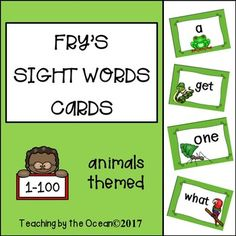 Fry's Sight Words Cards - Animals Themed (first hundred) Fry Sight Words, Sight Words List, Teaching First Grade, Teaching Kindergarten, Word Wall Displays, Sight Word Activities, Word Families, Creative Teaching, Literacy Centers