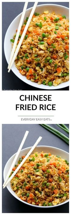 Chinese Fried Rice - 15-minute vegetarian fried rice. A healthy, flavorful and satisfying side dish or main. | http://EverydayEasyEats.com Arroz Frito Vegetariano, Healthy Fried Rice, Easy Fried Rice, Veggie Fried Rice, Stir Fried Rice Recipe, Special Fried Rice Recipe, Pork And Rice Recipes, Minute Rice Recipes, Stir Fry Rice