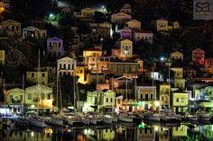 Symi Harbour at night.