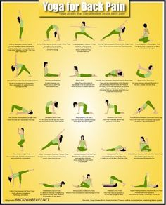 """Yoga for Back Pain: Yoga poses that can alleviate acute back pain. From backpainrelief.net -- """"consult with a doctor before practicing these poses"""""""
