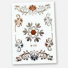 Das Metallic Tattoo 191 mit einer grossen und sechs kleinen Blumenelementen in Gold und Silber. Das Blatt im Format 102 x 72 mm enthält 7 Sujets.