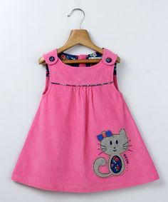 Take a look at this Pink Corduroy Sleeveless Dress with Cat Appliqué by Beebay on #zulily today!