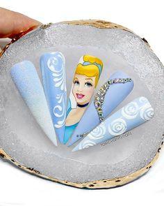 Disney Acrylic Nails, Simple Acrylic Nails, Best Acrylic Nails, Disney Nails, Cinderella Nails, Disney Princess Nails, How To Do Nails, Fun Nails, Secret Nails